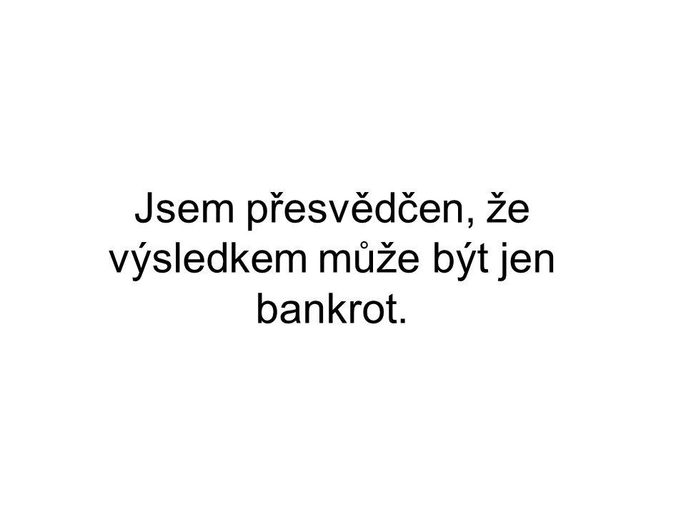 Jsem přesvědčen, že výsledkem může být jen bankrot.