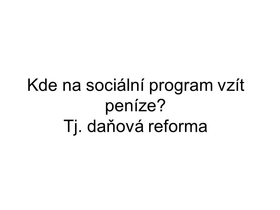 Kde na sociální program vzít peníze Tj. daňová reforma