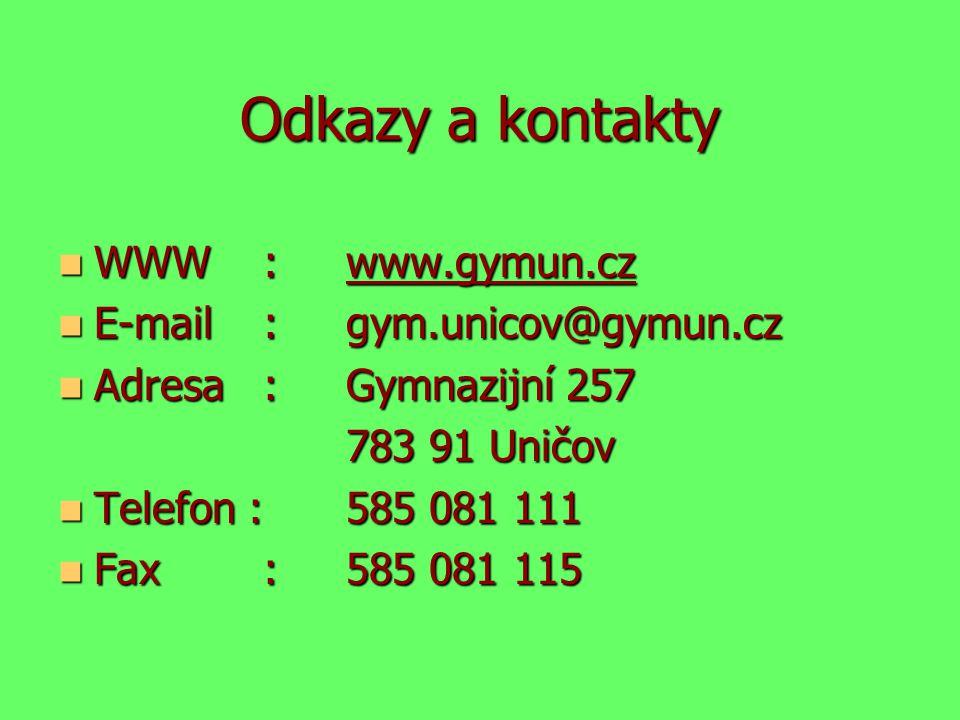 Odkazy a kontakty WWW :www.gymun.cz WWW :www.gymun.cz E-mail : gym.unicov@gymun.cz E-mail : gym.unicov@gymun.cz Adresa : Gymnazijní 257 Adresa : Gymna