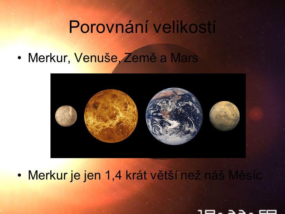 Škebloň 2010 Porovnání velikostí Merkur, Venuše, Země a Mars Merkur je jen 1,4 krát větší než náš Měsíc