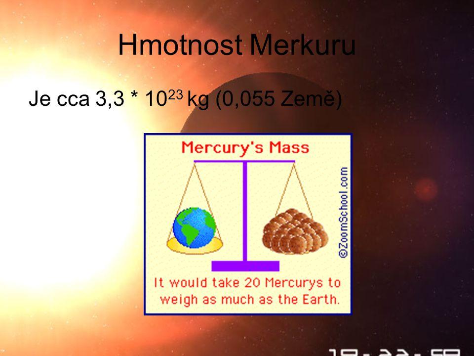 Škebloň 2010 Hmotnost Merkuru Je cca 3,3 * 10 23 kg (0,055 Země)