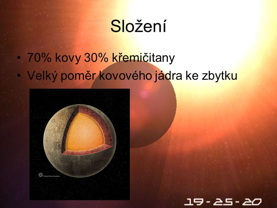 Škebloň 2010 Složení 70% kovy 30% křemičitany Velký poměr kovového jádra ke zbytku