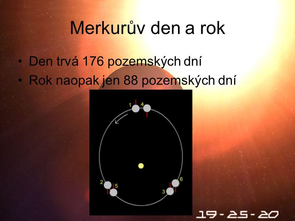 Škebloň 2010 Merkurův den a rok Den trvá 176 pozemských dní Rok naopak jen 88 pozemských dní