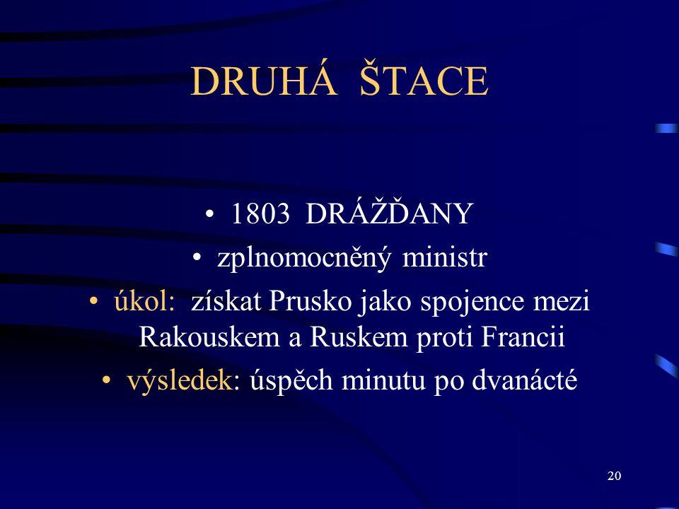 20 DRUHÁ ŠTACE 1803 DRÁŽĎANY zplnomocněný ministr úkol: získat Prusko jako spojence mezi Rakouskem a Ruskem proti Francii výsledek: úspěch minutu po dvanácté
