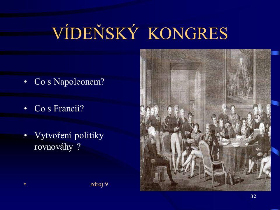 32 VÍDEŇSKÝ KONGRES Co s Napoleonem? Co s Francií? Vytvoření politiky rovnováhy ? zdroj:9