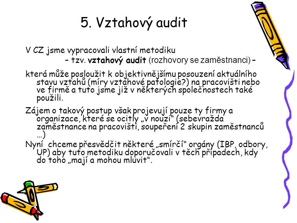 5. Vztahový audit V CZ jsme vypracovali vlastní metodiku – tzv. vztahový audit (rozhovory se zaměstnanci) – která může posloužit k objektivnějšímu pos