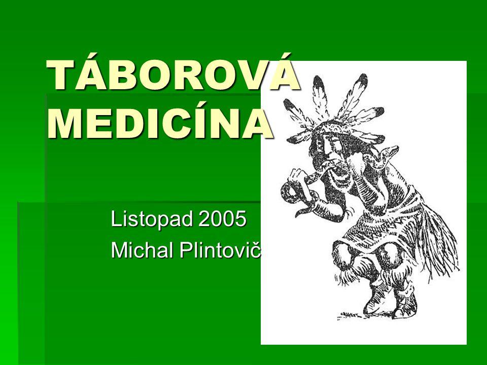 TÁBOROVÁ MEDICÍNA Listopad 2005 Michal Plintovič
