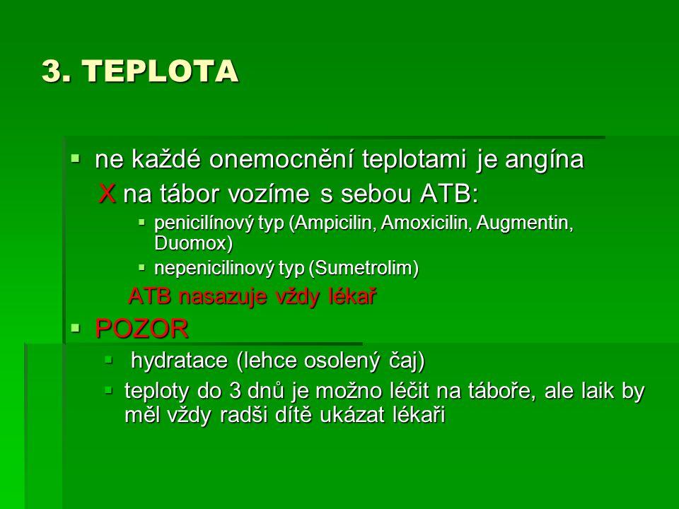 3. TEPLOTA  ne každé onemocnění teplotami je angína X na tábor vozíme s sebou ATB: X na tábor vozíme s sebou ATB:  penicilínový typ (Ampicilin, Amox