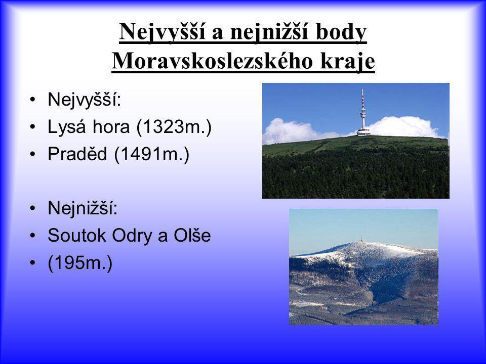 Nejvyšší a nejnižší body Moravskoslezského kraje Nejvyšší: Lysá hora (1323m.) Praděd (1491m.) Nejnižší: Soutok Odry a Olše (195m.)