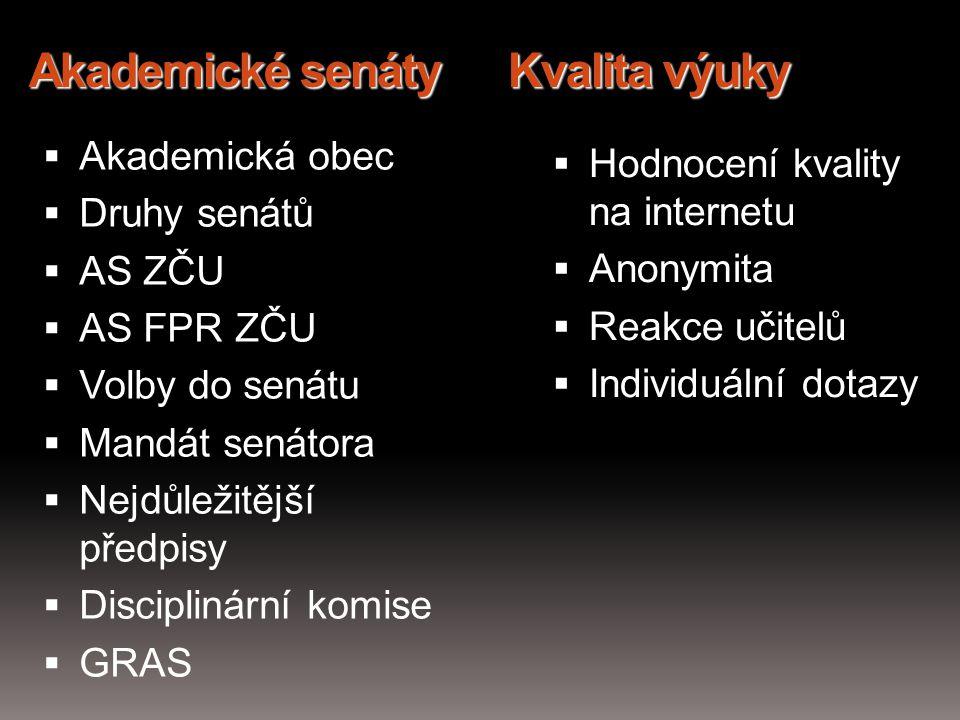 Akademické senáty Kvalita výuky  Akademická obec  Druhy senátů  AS ZČU  AS FPR ZČU  Volby do senátu  Mandát senátora  Nejdůležitější předpisy 