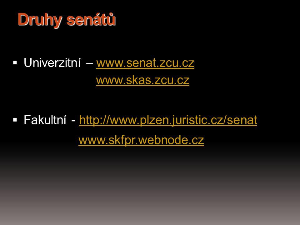 Druhy senátů  Univerzitní – www.senat.zcu.cz www.skas.zcu.czwww.senat.zcu.czwww.skas.zcu.cz  Fakultní - http://www.plzen.juristic.cz/senathttp://www