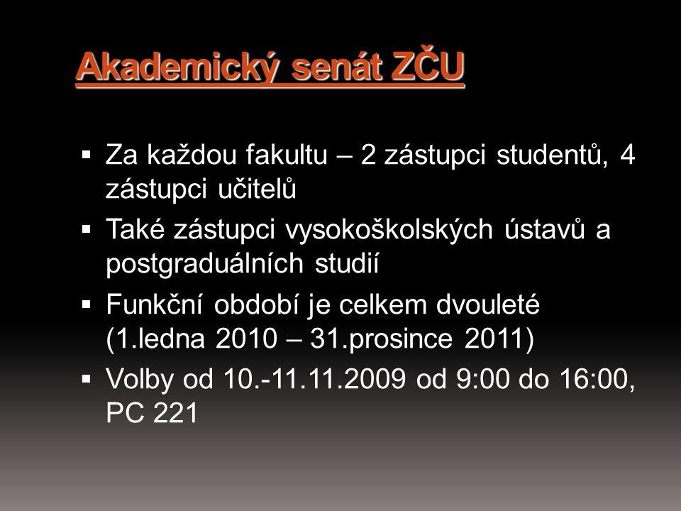 Akademický senát ZČU  Za každou fakultu – 2 zástupci studentů, 4 zástupci učitelů  Také zástupci vysokoškolských ústavů a postgraduálních studií  F