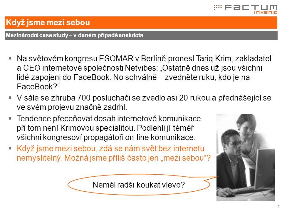 """4 Když jsme mezi sebou Mezinárodní case study – v daném případě anekdota  Na světovém kongresu ESOMAR v Berlíně pronesl Tariq Krim, zakladatel a CEO internetové společnosti Netvibes: """"Ostatně dnes už jsou všichni lidé zapojeni do FaceBook."""