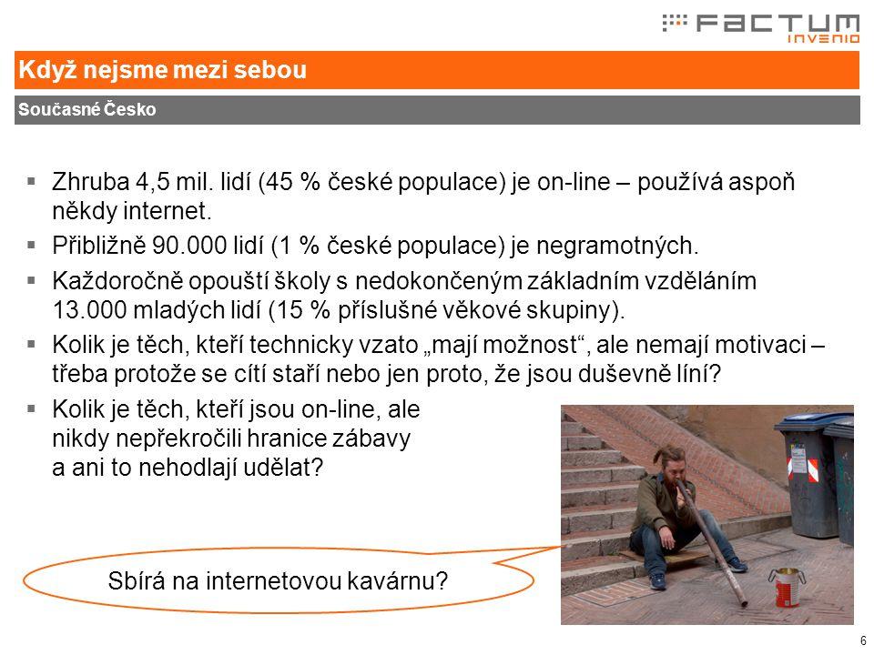 """7 Internet v ČR Přístup k internetu a typ domácího připojení  Téměř polovina české """"dospělé populace zatím """"nemá kudy dovnitř ."""