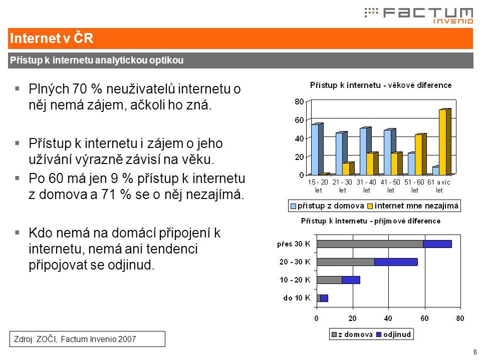 8 Internet v ČR Přístup k internetu analytickou optikou  Plných 70 % neuživatelů internetu o něj nemá zájem, ačkoli ho zná.