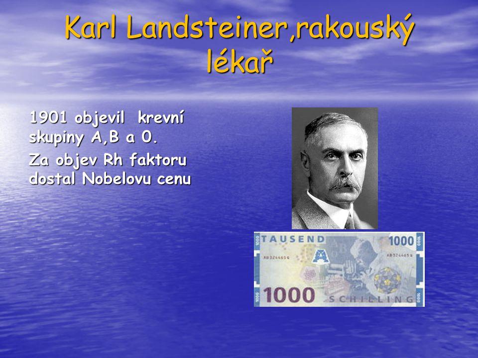 Karl Landsteiner,rakouský lékař 1901 objevil krevní skupiny A,B a 0. Za objev Rh faktoru dostal Nobelovu cenu