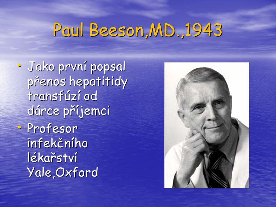 Paul Beeson,MD.,1943 Jako první popsal přenos hepatitidy transfúzí od dárce příjemci Jako první popsal přenos hepatitidy transfúzí od dárce příjemci P