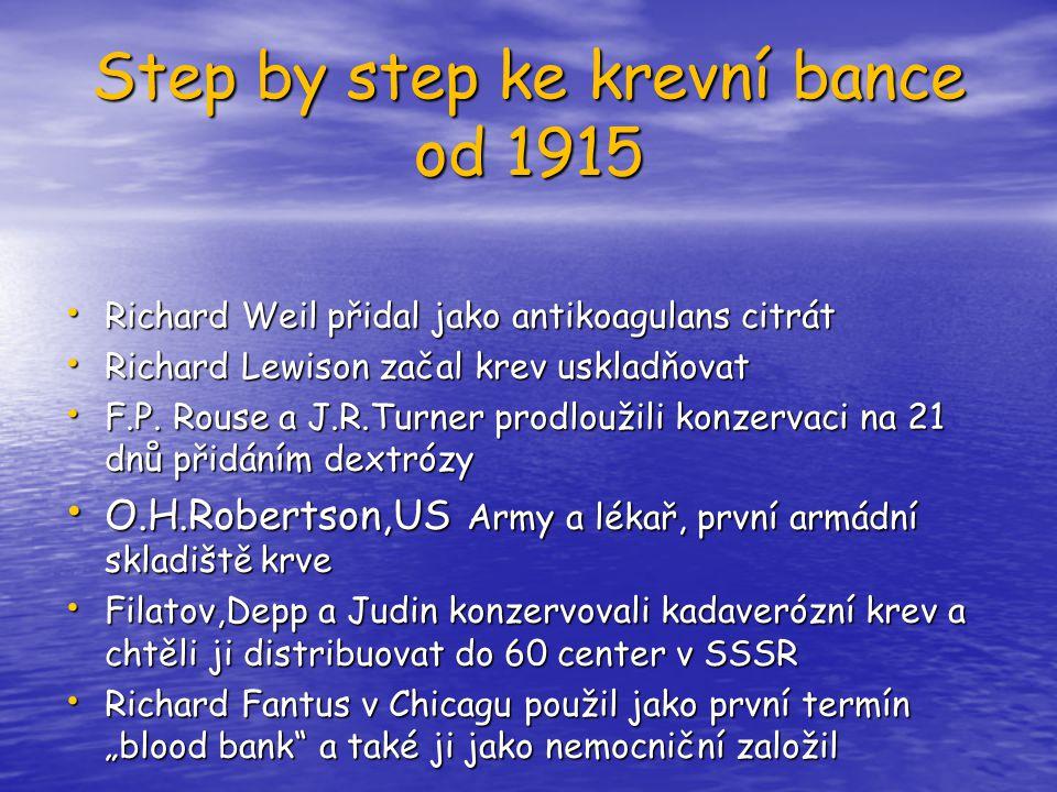Step by step ke krevní bance od 1915 Richard Weil přidal jako antikoagulans citrát Richard Weil přidal jako antikoagulans citrát Richard Lewison začal