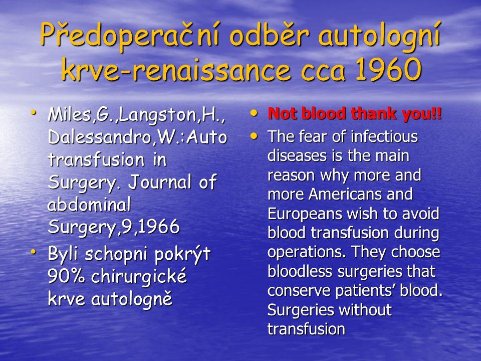 Předoperační odběr autologní krve-renaissance cca 1960 Miles,G.,Langston,H., Dalessandro,W.:Auto transfusion in Surgery. Journal of abdominal Surgery,