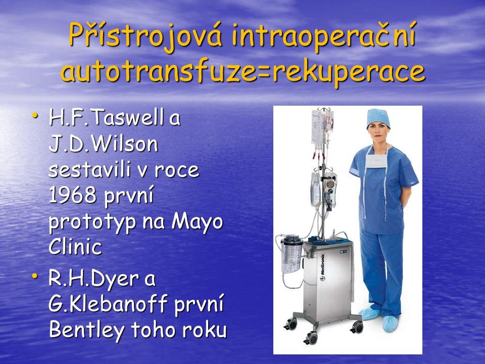 Přístrojová intraoperační autotransfuze=rekuperace H.F.Taswell a J.D.Wilson sestavili v roce 1968 první prototyp na Mayo Clinic H.F.Taswell a J.D.Wils