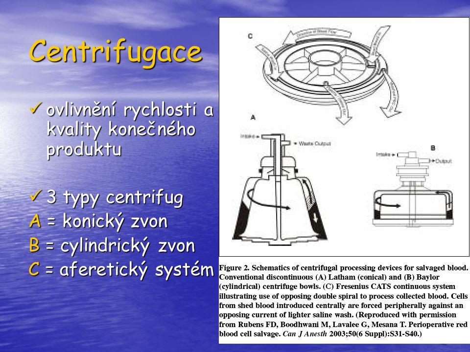 Centrifugace ovlivnění rychlosti a kvality konečného produktu ovlivnění rychlosti a kvality konečného produktu 3 typy centrifug 3 typy centrifug A = k