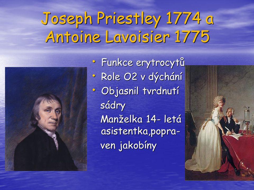 Joseph Priestley 1774 a Antoine Lavoisier 1775 Funkce erytrocytů Funkce erytrocytů Role O2 v dýchání Role O2 v dýchání Objasnil tvrdnutí Objasnil tvrd