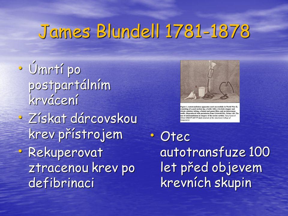 James Blundell 1781-1878 Úmrtí po postpartálním krvácení Úmrtí po postpartálním krvácení Získat dárcovskou krev přístrojem Získat dárcovskou krev přís