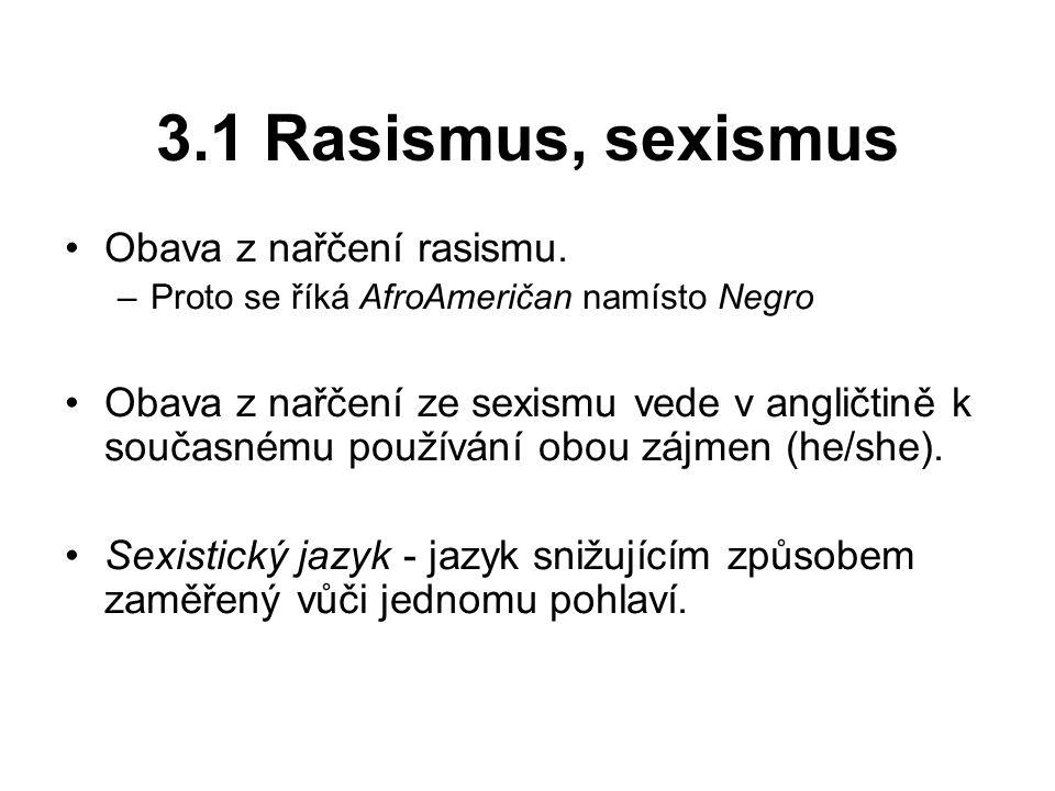 3.1 Rasismus, sexismus Obava z nařčení rasismu.