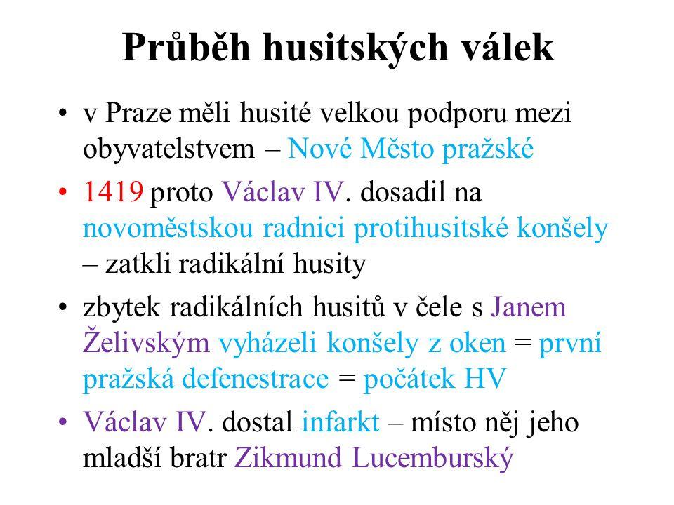 1420 vyhlásil Zikmund husitům křížovou výpravu >< poražen v bitvě na hoře Vítkově Zikmund se nechal korunovat >< české země opustil, ale dědických nároků se nevzdal 1421 – husité svolali zemský sněm do Čáslavi – také zástupci měst sněm prohlásil Zikmundovu korunovaci za neplatnou ustanovena dočasná vláda – nižší šlechtici a měšťané Čtyři artikuly pražské - zákonem