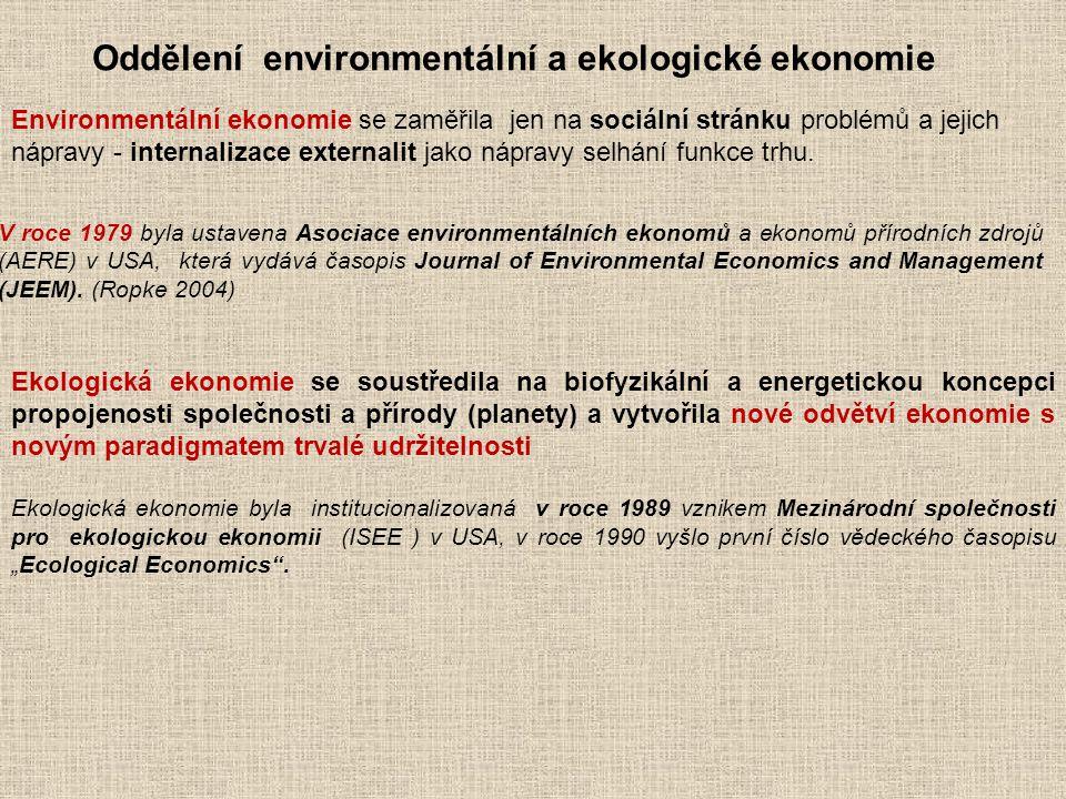 V roce 1979 byla ustavena Asociace environmentálních ekonomů a ekonomů přírodních zdrojů (AERE) v USA, která vydává časopis Journal of Environmental E