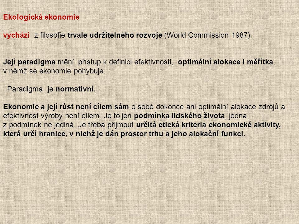 Ekologická ekonomie vychází z filosofie trvale udržitelného rozvoje (World Commission 1987). Její paradigma mění přístup k definici efektivnosti, opti