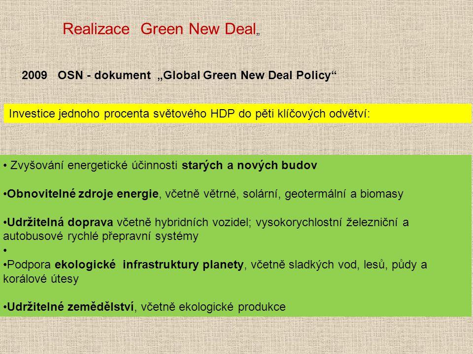 Investice jednoho procenta světového HDP do pěti klíčových odvětví: Zvyšování energetické účinnosti starých a nových budov Obnovitelné zdroje energie,