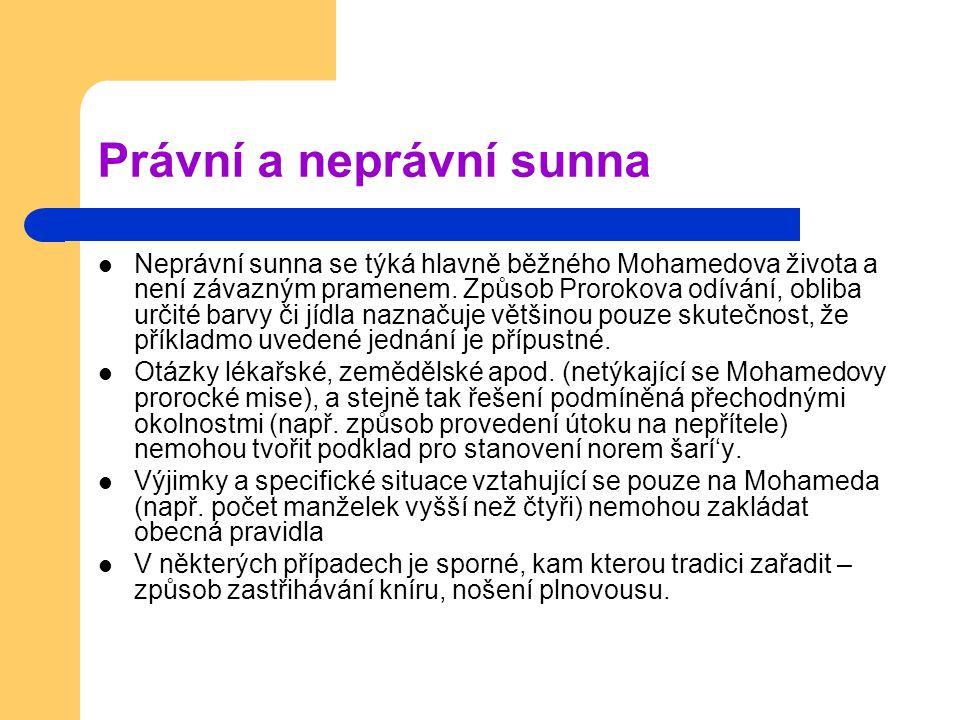 Právní a neprávní sunna Neprávní sunna se týká hlavně běžného Mohamedova života a není závazným pramenem.