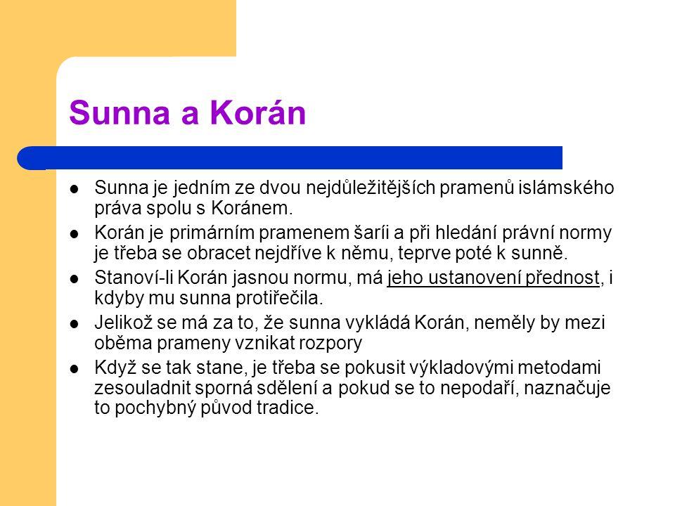 Sunna a Korán Sunna je jedním ze dvou nejdůležitějších pramenů islámského práva spolu s Koránem.