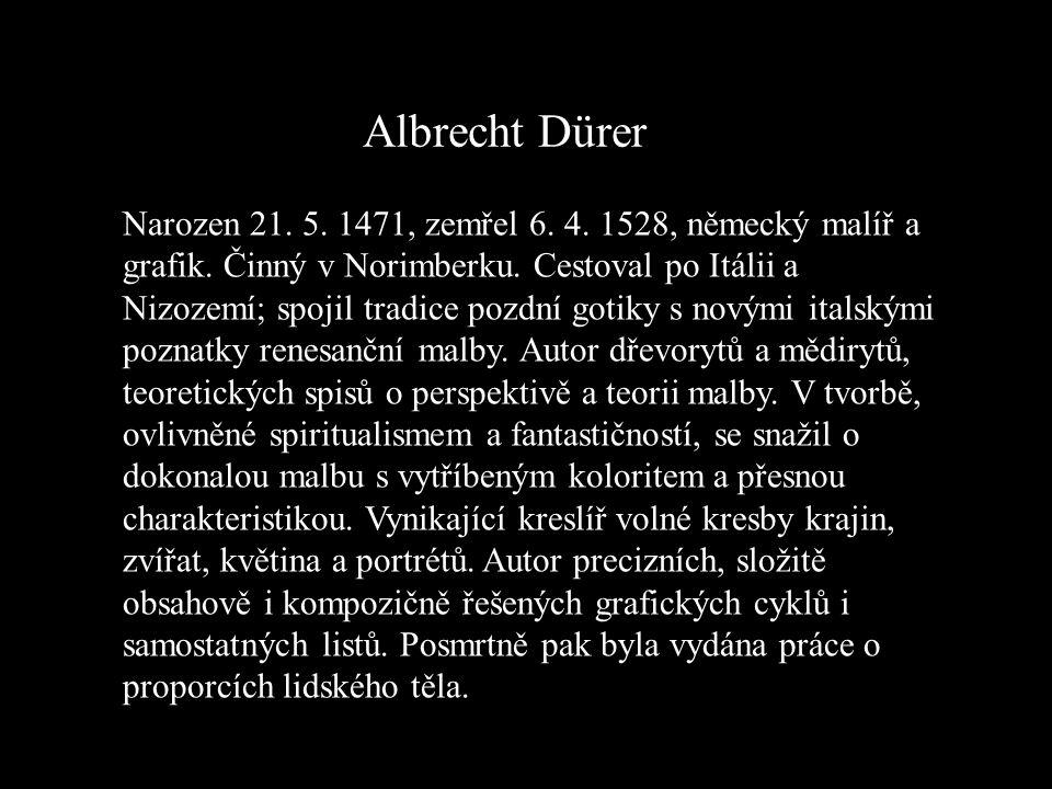 Albrecht Dürer Narozen 21. 5. 1471, zemřel 6. 4. 1528, německý malíř a grafik. Činný v Norimberku. Cestoval po Itálii a Nizozemí; spojil tradice pozdn