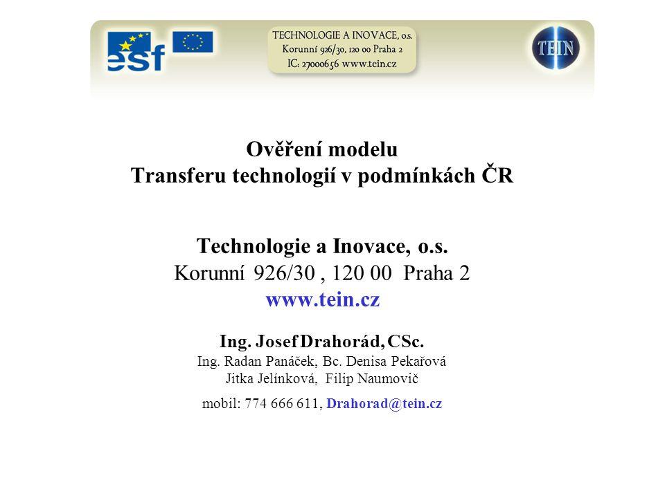 Ověření modelu Transferu technologií v podmínkách ČR Technologie a Inovace, o.s. Korunní 926/30, 120 00 Praha 2 www.tein.cz Ing. Josef Drahorád, CSc.