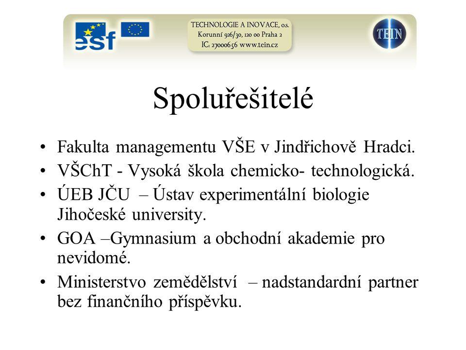 Spoluřešitelé Fakulta managementu VŠE v Jindřichově Hradci.