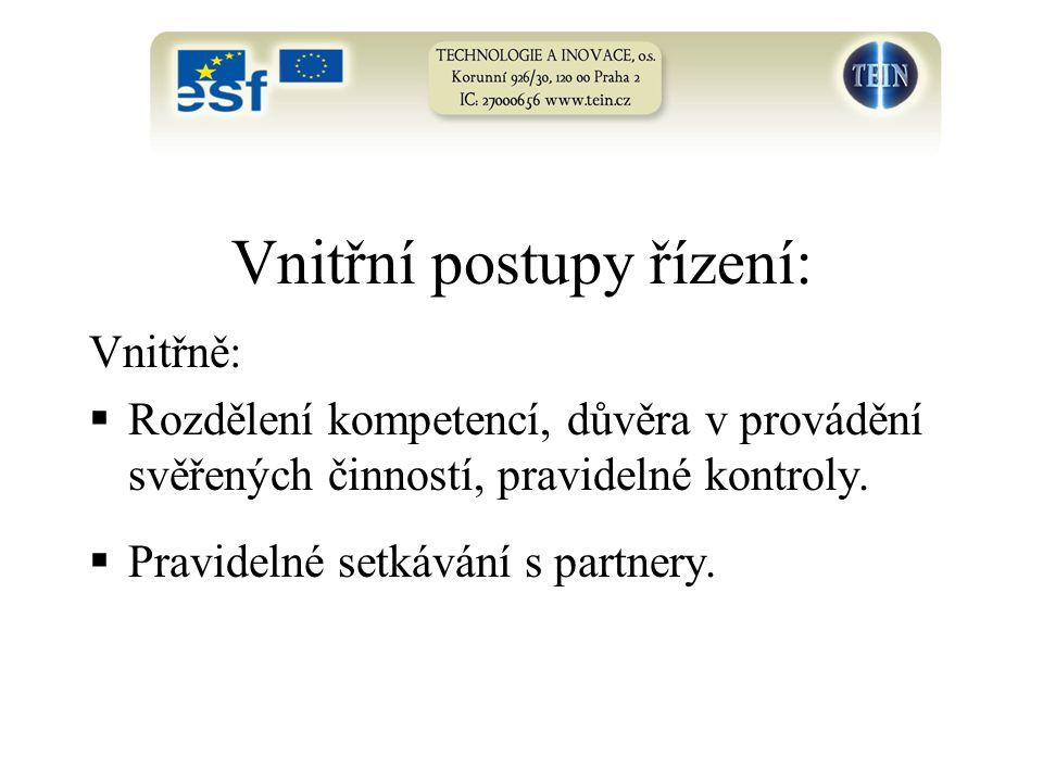Vnitřní postupy řízení: Vnitřně:  Rozdělení kompetencí, důvěra v provádění svěřených činností, pravidelné kontroly.  Pravidelné setkávání s partnery
