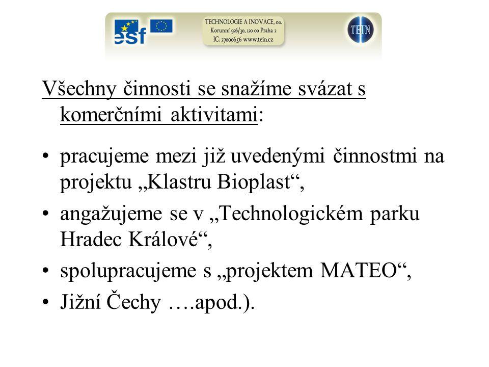 """Všechny činnosti se snažíme svázat s komerčními aktivitami: pracujeme mezi již uvedenými činnostmi na projektu """"Klastru Bioplast , angažujeme se v """"Technologickém parku Hradec Králové , spolupracujeme s """"projektem MATEO , Jižní Čechy ….apod.)."""