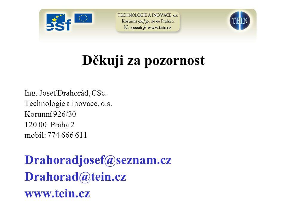Děkuji za pozornost Ing. Josef Drahorád, CSc. Technologie a inovace, o.s. Korunní 926/30 120 00 Praha 2 mobil: 774 666 611 Drahoradjosef@seznam.cz Dra