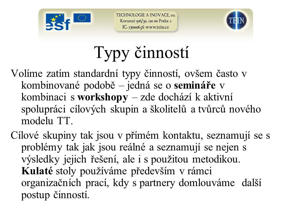 Volíme zatím standardní typy činností, ovšem často v kombinované podobě – jedná se o semináře v kombinaci s workshopy – zde dochází k aktivní spolupráci cílových skupin a školitelů a tvůrců nového modelu TT.