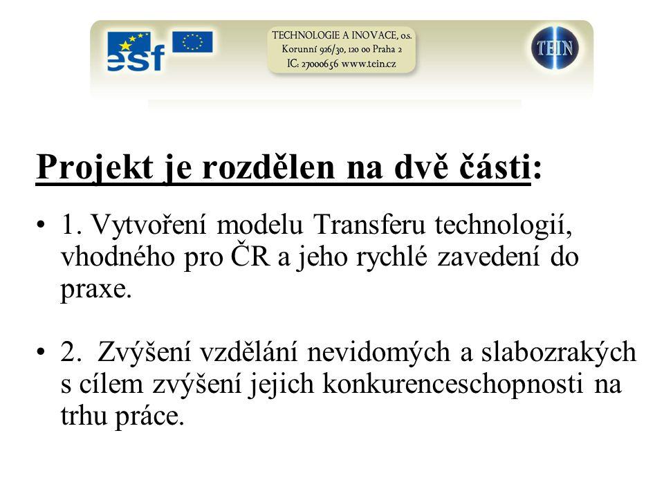 Projekt je rozdělen na dvě části: 1. Vytvoření modelu Transferu technologií, vhodného pro ČR a jeho rychlé zavedení do praxe. 2. Zvýšení vzdělání nevi