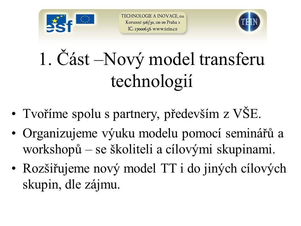 1. Část –Nový model transferu technologií Tvoříme spolu s partnery, především z VŠE. Organizujeme výuku modelu pomocí seminářů a workshopů – se školit