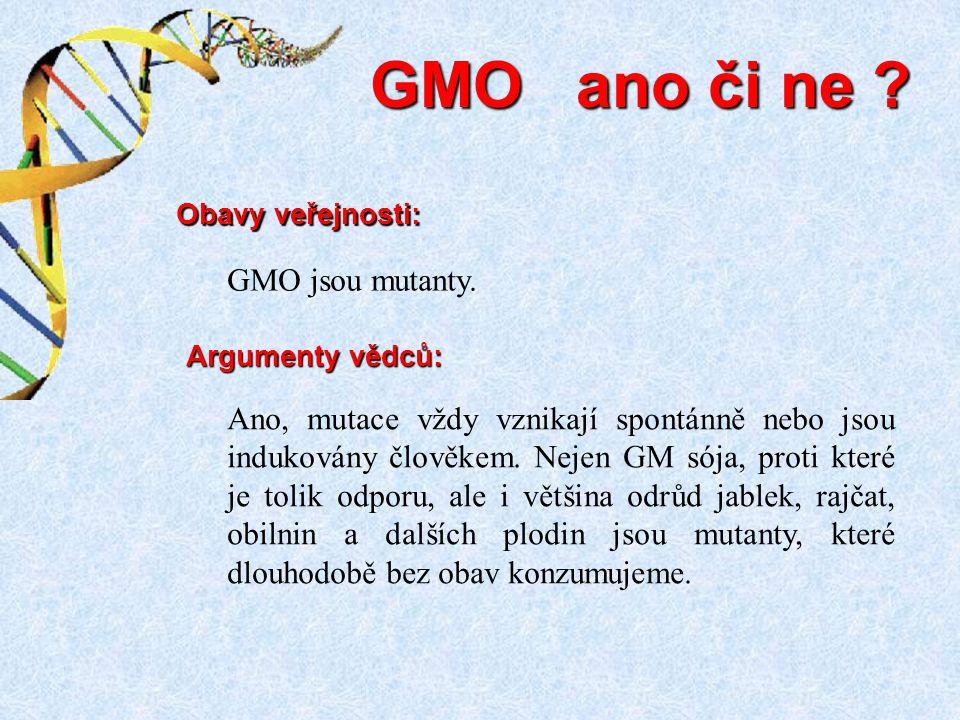 GMO ano či ne ? Ano, mutace vždy vznikají spontánně nebo jsou indukovány člověkem. Nejen GM sója, proti které je tolik odporu, ale i většina odrůd jab