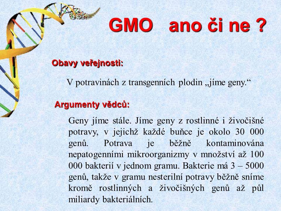 Geny jíme stále. Jíme geny z rostlinné i živočišné potravy, v jejichž každé buňce je okolo 30 000 genů. Potrava je běžně kontaminována nepatogenními m