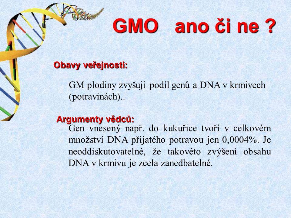 Gen vnesený např. do kukuřice tvoří v celkovém množství DNA přijatého potravou jen 0,0004%. Je neoddiskutovatelné, že takovéto zvýšení obsahu DNA v kr