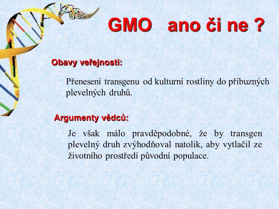 Je však málo pravděpodobné, že by transgen plevelný druh zvýhodňoval natolik, aby vytlačil ze životního prostředí původní populace. GMO ano či ne ? Ar