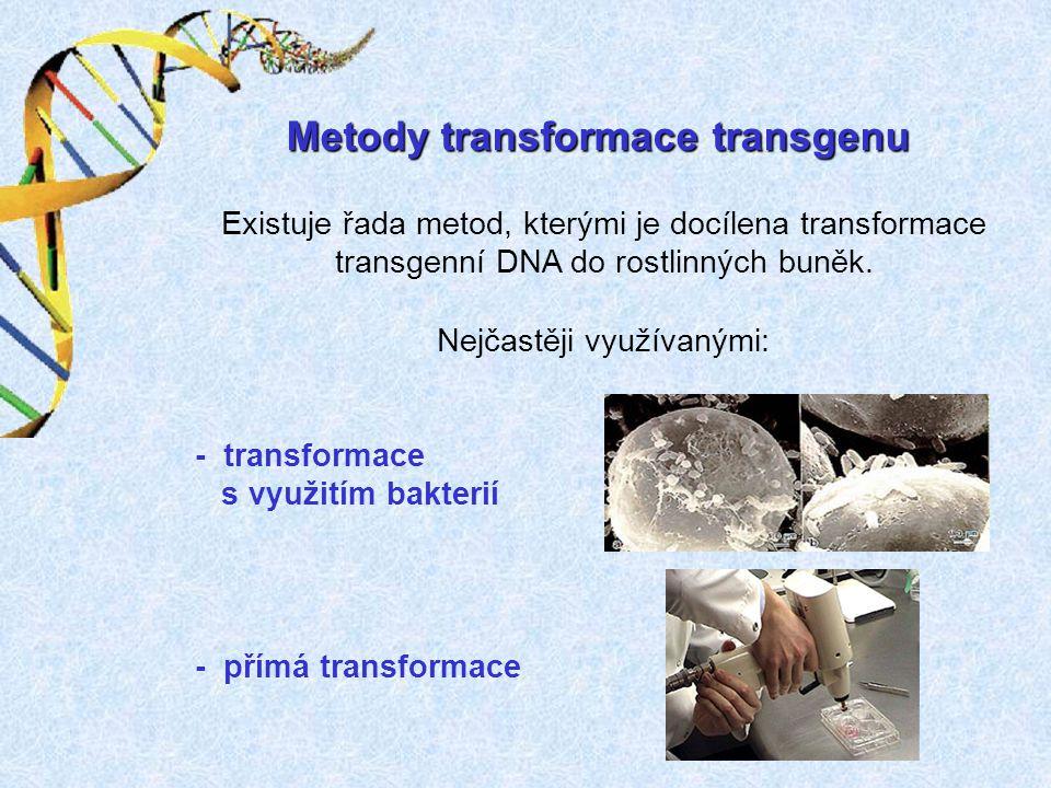 Existuje řada metod, kterými je docílena transformace transgenní DNA do rostlinných buněk. Nejčastěji využívanými: Metody transformace transgenu - tra