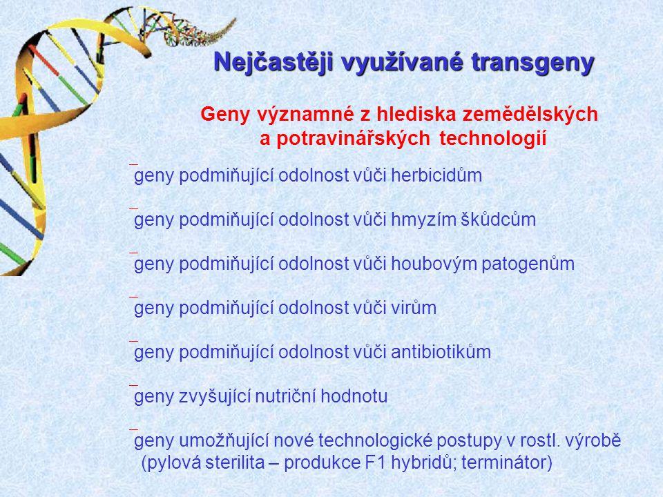 Nejčastěji využívané transgeny Geny významné z hlediska zemědělských a potravinářských technologií ` geny podmiňující odolnost vůči herbicidům ` geny