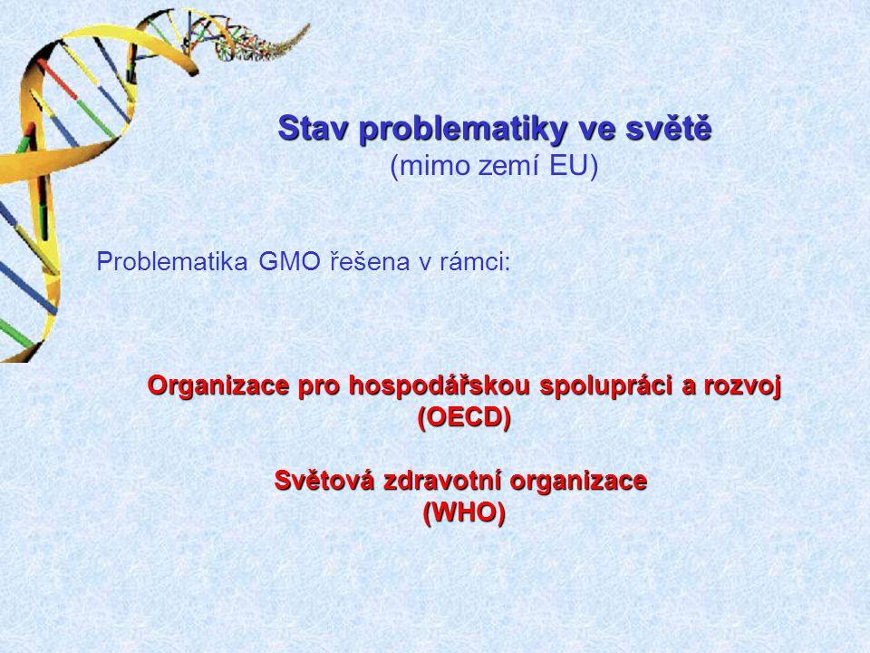 Stav problematiky ve světě (mimo zemí EU) Problematika GMO řešena v rámci: Organizace pro hospodářskou spolupráci a rozvoj (OECD) Světová zdravotní or